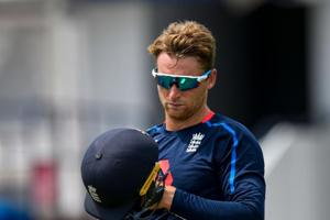 Jos Buttler of England takes part in a training session one day ahead of the 1st ODI between West Indies and England at Kensington Oval, Bridgetown, Barbados, on February 19, 2019