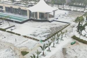 A view of Grand Omaxe society after hailstorm in parts of Noida on Thursday evening. It was seen along the expressway, and at Sector 37 and adjoining areas in Noida  on February 7, 2019