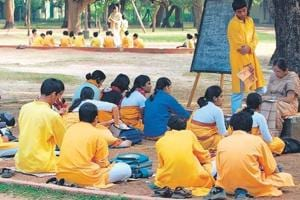 Students attend an outdoor class on the Visva-Bharati campus (Surojit Hazra/ HT Photo)