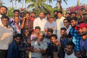 Mohanlal posed with the crew after wrapping up his portion in the film.