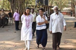 Swara Bhasker at the funeral of Raj Kumar Barjatya in Mumbai.