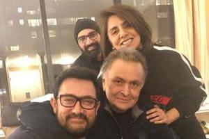 Rishi Kapoor, Aamir Khan and Neetu Kapoor met in New York recently.