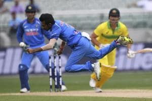 Yuzvendra Chahal dives to attempt to stop a drive from Marcus Stoinis during the recently concluded India vs Australia ODI series.