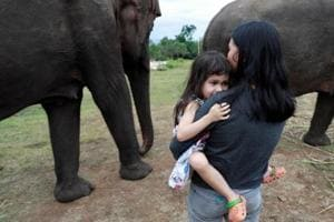 Elephant protects 4-yr-old  from others in herd after she falls from scooter