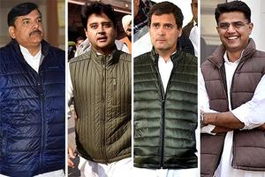 Left to right: AAP leader Sanjay Singh, Congress leader Jyotiraditya Scindia, Congress president Rahul Gandhi and Rajasthan deputy chief minister, Sachin Pilot, are among the politicians seen wearing gilet.