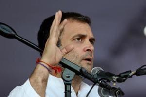 Congress president Rahul Gandhi addressing a public rally in Andhra Pradesh's Tirupati on Friday.