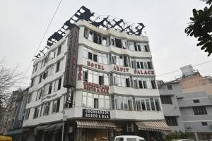 Hotel Arpit Palace in Karol Bagh after a massive fire broke out  on February 12.