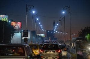 LED streetlamps lit on the flyover of Paud road in Pune