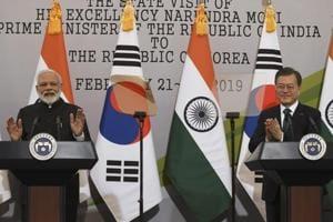 Indian Prime Minister Narendra Modi, left, and South Korea