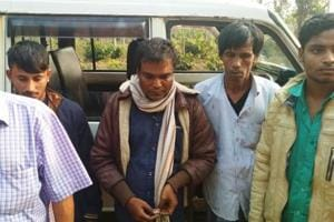 The four Bangladeshi smugglers apprehended by the  BSF  in Meghalaya's West Jaiñtia Hills district late Thursday evening.