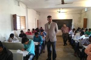 Bihar Board 2019:BSEBChairman Anand Kishor on a surprise visit at an exam centre