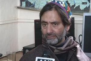 JKLFchief Yasin Malik who was detained in Srinagar Friday night.
