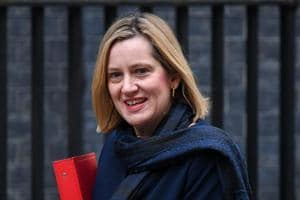 Amber Rudd, U.K. work and pensions secretary, arrives for a weekly meeting of Cabinet minister at number 10 Downing Street in London.