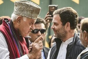 Congress president Rahul Gandhi (2nd R) with his National Conference counterpart Farooq Abdullah (2nd L) and CPI(M) general secretary Sitaram Yechury (left) and Loktantrik Janata Dal President Sharad Yadav (right) at an opposition rally in New Delhi.
