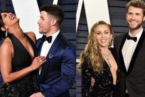 Priyanka Chopra-Nick Jonas and Miley Cyrus-Liam Hemsworth attended the Oscar after-party on Monday.