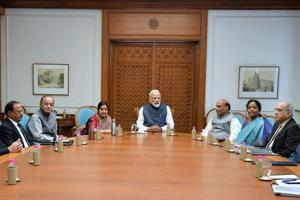 Prime Minister Narendra Modi chairing a  meeting of te Cabinet Committee onSecurity in New Delhi on Tuesday