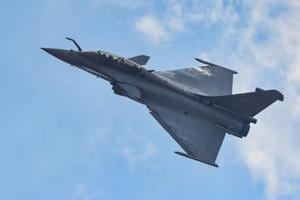 A Rafale fighter aircraft rehearses for fly-past ahead of 12th edition of AERO India 2019 at Yelahanka airbase in Bengaluru.