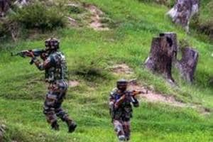 Army personnel take positions during an encounter with the militants along LoC in Jammu and Kashmir.