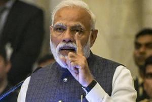 New Delhi: Prime Minister Narendra Modi addresses the Gandhi Peace Prize awards ceremony at Rashtrapati Bhawan in New Delhi, Tuesday, Feb 26, 2019. (PTI Photo/Vijay Verma) (PTI2_26_2019_000042B)