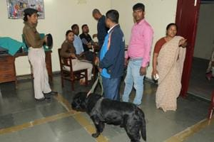 Police with sniffer dog investigating at Mokama shelter home from where seven minor girls, who were witnesses in the Muzaffarpur shelter home case, disappeared from home in Mokama Bihar