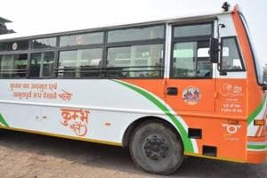 The Uttar Pradesh State Road Transport Corporation (UPSRTC) has decided to run a fleet of 500 saffron-coloured buses, emblazoned with the Kumbh logo, along the Nawabganj-Soraon route, on a stretch of 3.2 km.