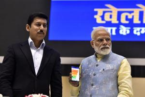 New Delhi, India - Feb. 27, 2019: Prime Minister Narendra Modi with Youth and Sports Minister Rajyavardhan Rathore launches the