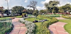 A view of the 'happiness space' at North Block on Wednesday.