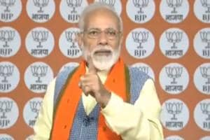 Prime Minister Narendra Modi during his interaction with BJP workers through video-conferencing on Thursday.