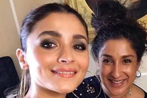Alia Bhatt with her make-up artist Mira Parmar at Akash Ambani pre-wedding function.