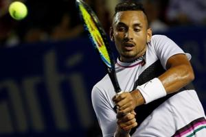 Australia's Nick Kyrgios in action during his match against Switzerland
