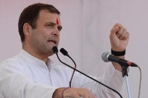 Congress president Rahul Gandhi addressing a public rally in Jharkhand on Saturday.