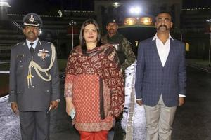 Wagah: Indian Air Force (IAF) pilot Wing Commander Abhinandan Varthaman as he is released by Pakistan authorities at Wagah border on the Pakistani side, Friday, March 1, 2019.