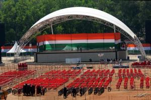 Preparation in progress at Morhabadi ground from where Congress President Rahul Gandhi will address a rally in Ranchi, India, on Friday