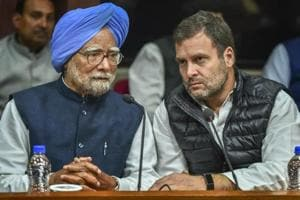 Former prime minister Manmohan Singh and Congress president Rahul Gandhi during Opposition parties