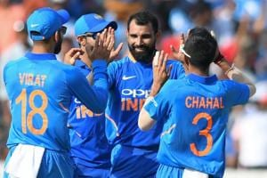 File image of Mohammed Shami celebrating a wicket with his teammates.