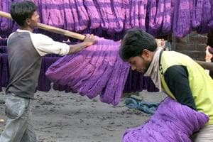 Six textile dyeing units sealed in Noida for violating pollution norms PHOTO: Sunil Saxena/HT