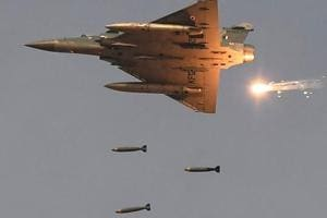 An Indian Air Force (IAF) Mirage-2000 fighter aircraft drops bombs during an exercise. Indian forces carried out an air strike at the biggest camp of the terror group Jaish-e-Mohammed in Balakot across the LoC on February 26.