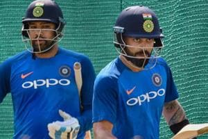 Virat Kohli and Rohit Sharma during a practice session ahead of the 2nd ODI match against Australia.