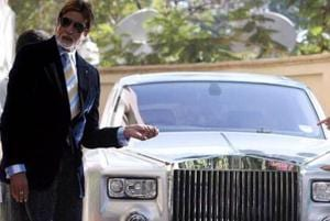 Amitabh Bachchan poses with his Rolls Royce.