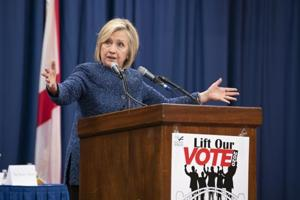 Hillary Clinton, former US secretary of state, speaks during the Martin and Coretta King Unity Breakfast in Selma, Alabama, US, on March 3.