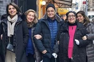 Rishi and Neetu Kapoor pose with family in New York.