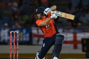 Jonny Bairstow in action  during the T20I match against West Indies.