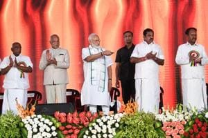Prime Minister Narendra Modi unveils multiple projects, in Kancheepuram, Wednesday. Tamil Nadu Governor Banwarilal Purohit, Chief Minister Edappadi K Palaniswami, Deputy Chief Minister O Pannneerselvam and other dignitaries are also seen.