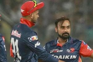 File image of Amit Mishra celebrating with Shreyas Iyer after the fall of a wicket.