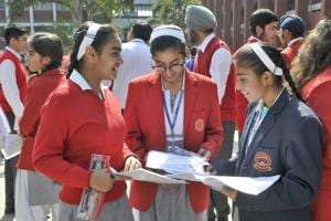 CBSE Class 10th Mathematics paper Analysis : Students coming out after appearing in Class 10 exam of CBSE at Guru Nanak Public School, Sarabha Nagar, in Ludhiana on Thursday.