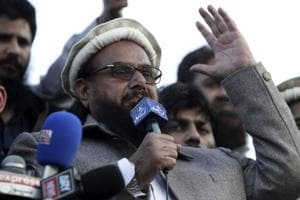 Hafiz Saeed, chief of Pakistani religious group Jamaat-ud-Dawa, addresses a rally for Kashmir Day in Lahore, Pakistan.
