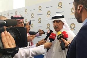 UAE sports chief Mohammed Khalfan al-Romaithi speaks to the media after the launch of his campaign for president of the Asian Football Confederation (AFC) at the Louvre Abu Dhabi on March 7.