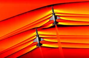 The rendezvous -- at an altitude of around 30,000 feet -- yielded mesmerizing images of the shockwaves emanating from both planes.