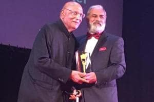 Swraj Paul receiving the 'Lifetime Contribution-Midlands Business Awards 2019' at an event in Leicester on Friday.