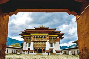 The village of Phobjikha lies a few kilometers beyond the Gangtey Monastery